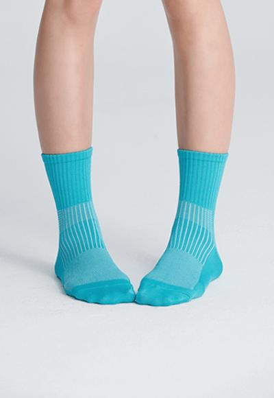 MIT發熱抑菌按摩中筒襪(湖水藍 女M-L)