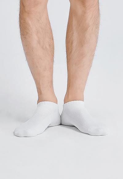 MIT發熱抑菌按摩船型襪(純淨白 男M-L)