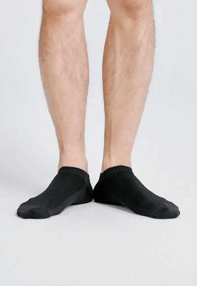 MIT發熱抑菌按摩船型襪(經典黑 男M-L)