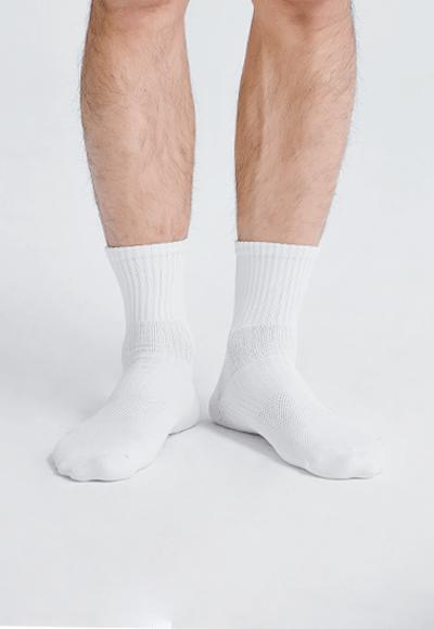 MIT發熱抑菌按摩中筒襪(純淨白 男M-L)