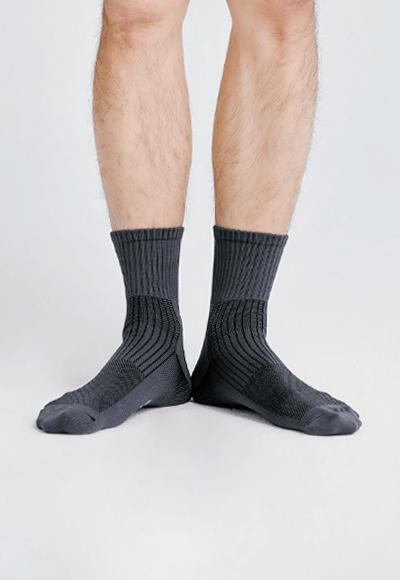 MIT發熱抑菌按摩中筒襪(銀河灰 男M-L)
