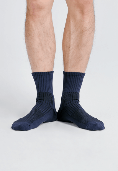 MIT發熱抑菌按摩中筒襪(湛海藍 男M-L)