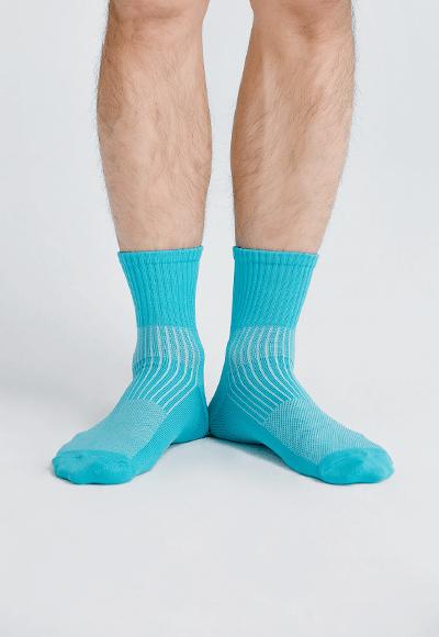 MIT發熱抑菌按摩中筒襪(湖水藍 男M-L)