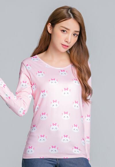可愛TsumTsum溫灸刷毛圓領發熱衣(瑪麗貓粉 女S-2XL)