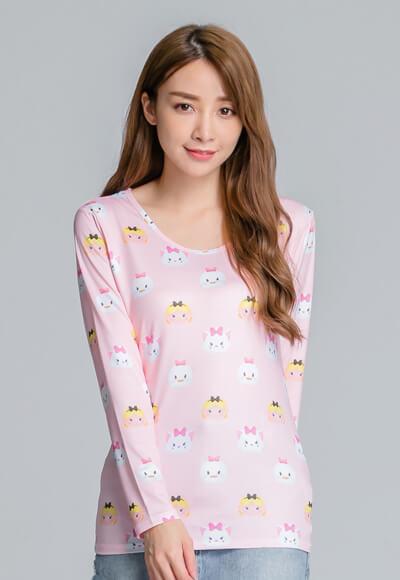 【為愛加衣】家族TsumTsum溫灸刷毛圓領發熱衣(愛麗絲粉 女S-2XL)