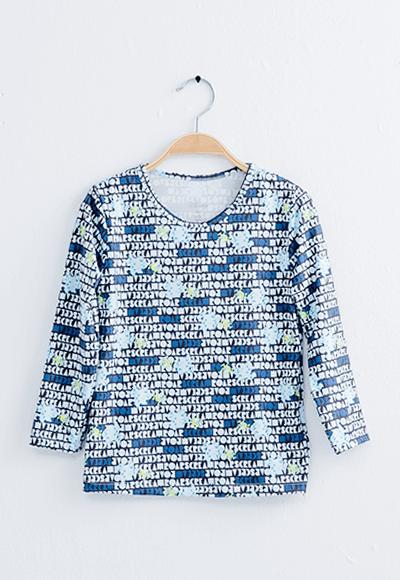 文字怪獸電力溫灸刷毛圓領發熱衣(經典黑 童100-150)