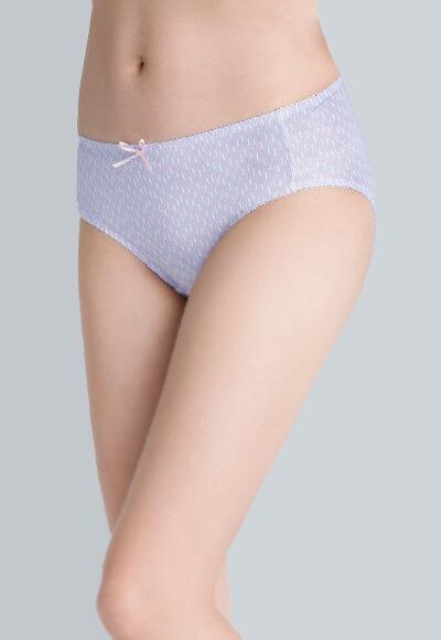 豎條遠紅外線抑菌基本中腰內褲(薰衣紫 女M-2XL)