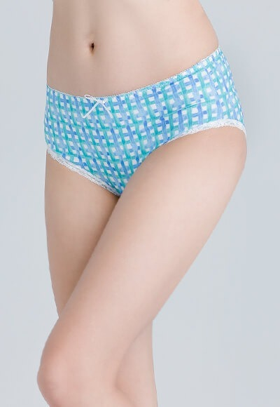 水彩格遠紅外線抑菌經典中腰內褲(湖藍綠 女M-2XL)