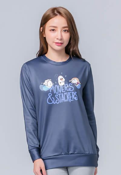 Q版冰雪TsumTsum炙熱刷毛短版發熱衫 (湛海藍 女S-2XL)
