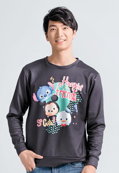 樂園TsumTsum炙熱刷毛短版發熱衫(經典黑 男S-3XL)