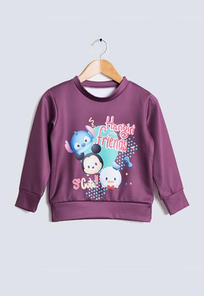 樂園TsumTsum炙熱刷毛短版發熱衫(醇酒紅 童100-150)