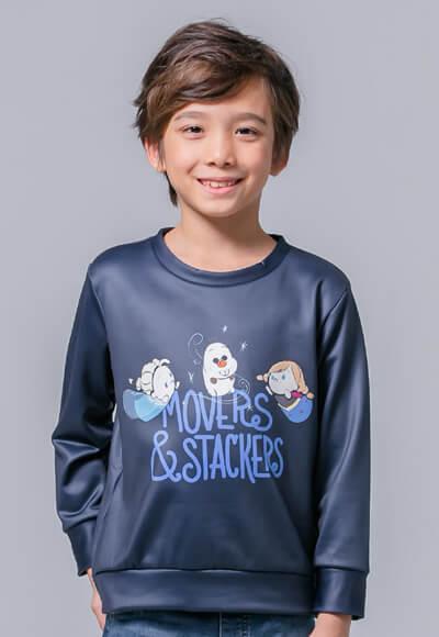 Q版冰雪TsumTsum炙熱刷毛短版發熱衫 (湛海藍 童100-150)