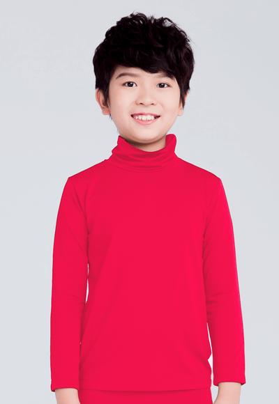 MIT溫灸刷毛高領發熱衣(朝陽紅 童70-150)