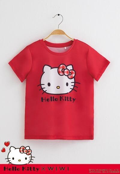 大頭Hello Kitty防曬排汗涼感衣(蘋果紅 童100-150)