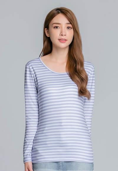 個性條紋溫灸刷毛圓領發熱衣(灰藍色 女S-2XL)