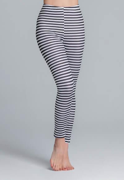 個性條紋溫灸刷毛九分發熱褲(黑白色 女S-2XL)