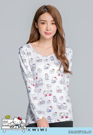 溫馨Hello Kitty溫灸刷毛圓領發熱衣(純淨白 女S-2XL)