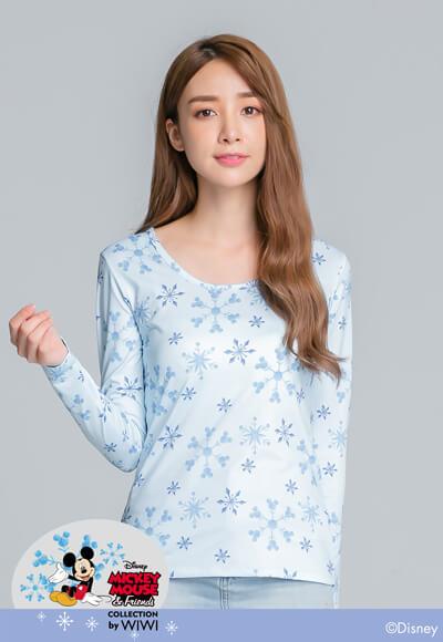 冰晶米奇溫灸刷毛圓領發熱衣(水漾藍 女S-2XL)