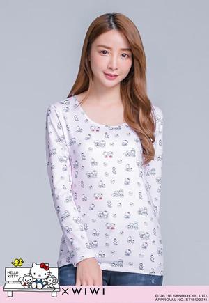 家庭Hello Kitty溫灸刷毛圓領發熱衣(戀愛粉 女S-2XL)