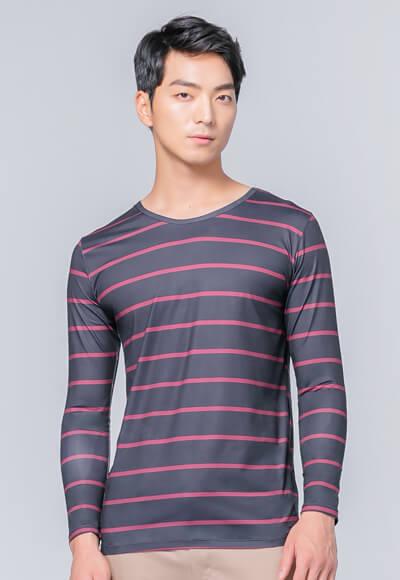 經典條紋溫灸刷毛圓領發熱衣(經典黑 男S-3XL)