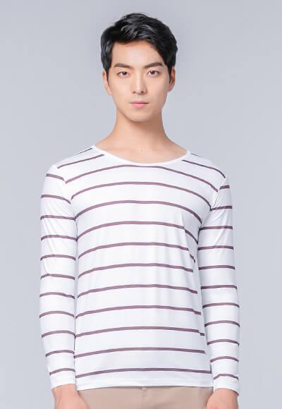 經典條紋溫灸刷毛圓領發熱衣(純淨白 男S-3XL)