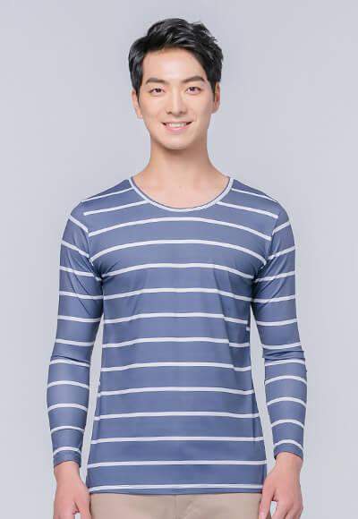 經典條紋溫灸刷毛圓領發熱衣(琉璃藍 男S-3XL)