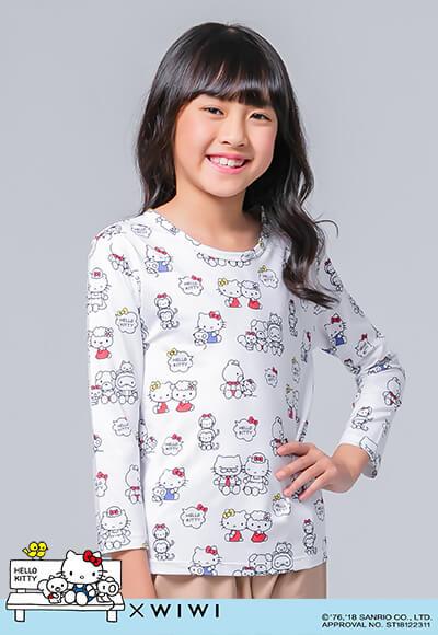 溫馨Hello Kitty溫灸刷毛圓領發熱衣(純淨白 童100-150)