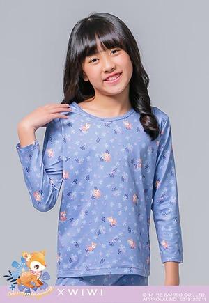 花叢哈妮鹿溫灸刷毛圓領發熱衣(憂紫藍 童100-150)