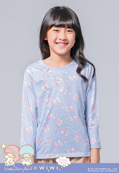 舞動雙星仙子溫灸刷毛圓領發熱衣(琉璃藍 童100-150)