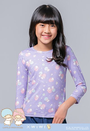 花冠雙星仙子溫灸刷毛圓領發熱衣(薰衣紫 童100-150)