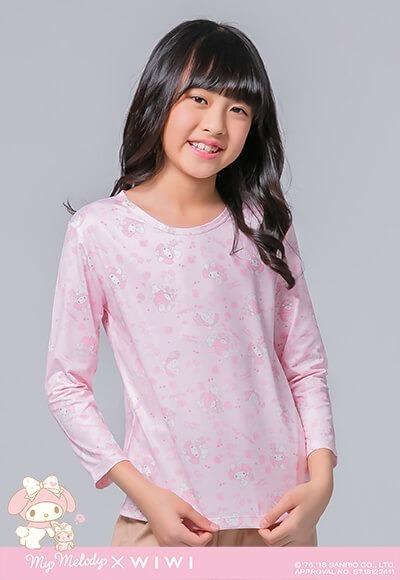 玫瑰美樂蒂溫灸刷毛圓領發熱衣(石英粉 童100-150)
