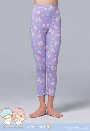 花冠雙星仙子溫灸刷毛九分發熱褲(薰衣紫 童100-150)