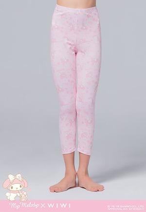 玫瑰美樂蒂溫灸刷毛九分發熱褲(石英粉 童100-150)