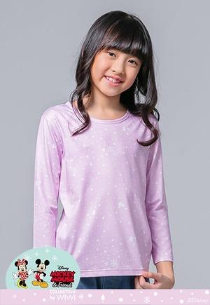 雪花米奇溫灸刷毛圓領發熱衣(薰衣紫 童100-150)
