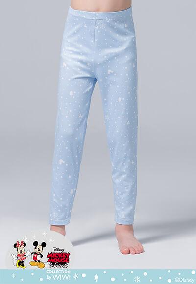 雪花米奇溫灸刷毛九分發熱褲(天空藍 童100-150)
