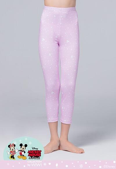 雪花米奇溫灸刷毛九分發熱褲(薰衣紫 童100-150)
