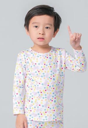 可愛兔子溫灸刷毛圓領發熱衣(純淨白 童70-90)