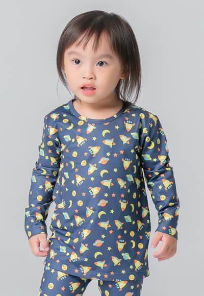 宇宙飛船溫灸刷毛圓領發熱衣(湛海藍 童70-90)