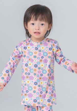 彩色花朵溫灸刷毛圓領發熱衣(戀愛粉 童70-90)
