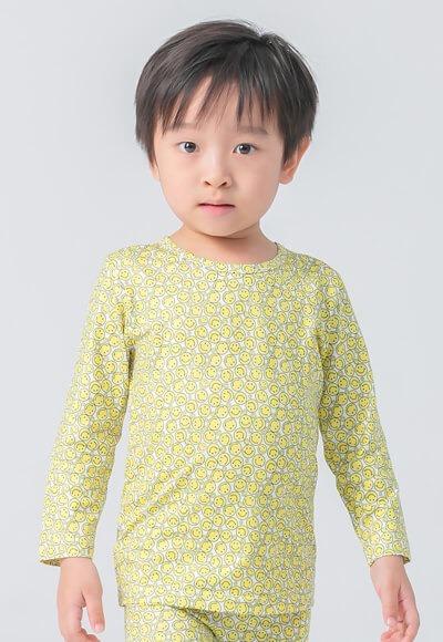黃色笑臉溫灸刷毛圓領發熱衣(純淨白 童70-90)