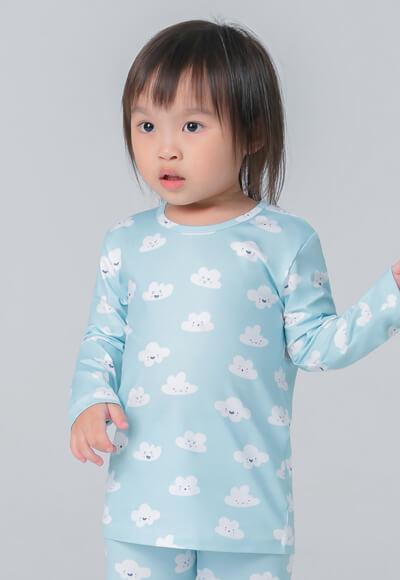 藍色雲朵溫灸刷毛圓領發熱衣(天空藍 童70-90)