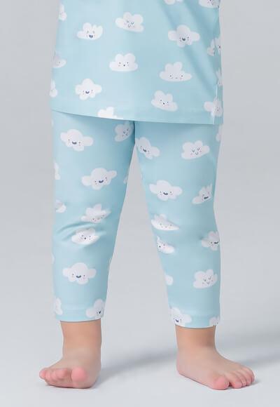 藍色雲朵溫灸刷毛九分發熱褲(天空藍 童70-90)
