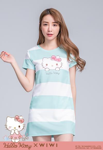 純潔Hello Kitty防曬排汗長版涼感衣(靜白綠 女M-2XL)