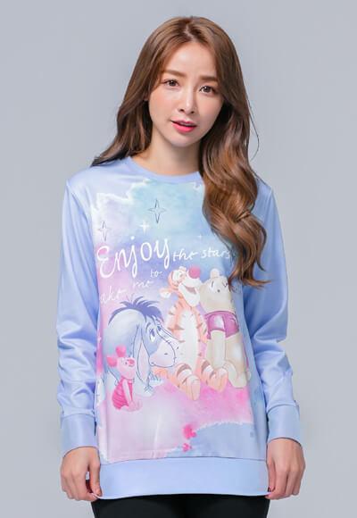 觀星維尼家族炙熱刷毛短版發熱衫(水漾藍 女M-3XL)