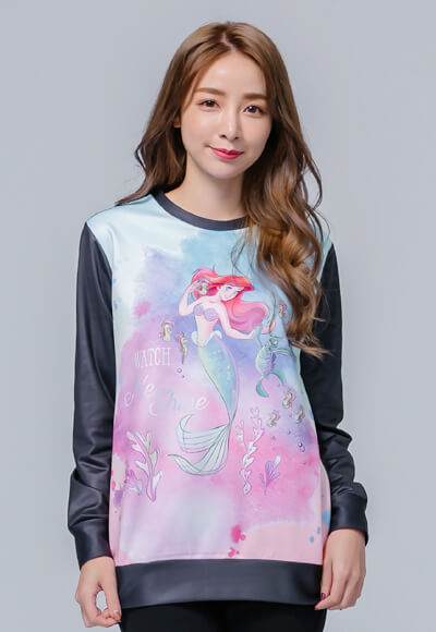 游玩Ariel炙熱刷毛短版發熱衫(水漾藍 女M-3XL)