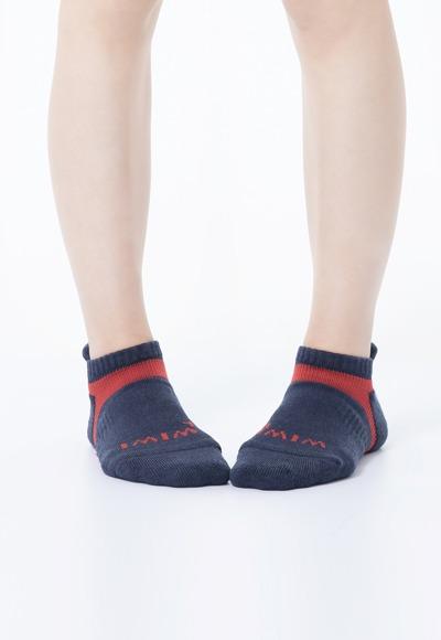 活力運動抑菌船型除臭襪(軍藍紅 女M-XL)