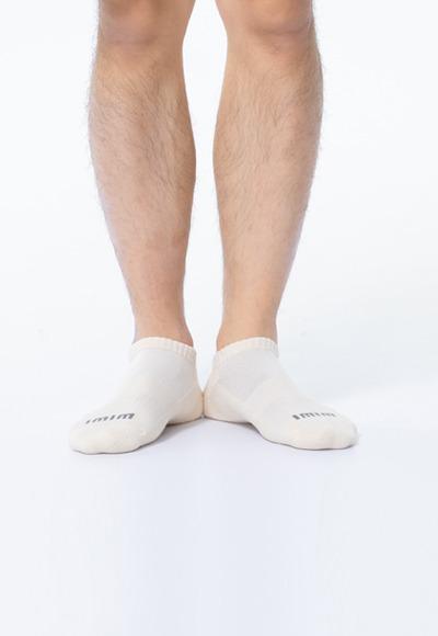 舒適休閒抑菌船型除臭襪(米黃白 男M-L)