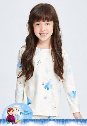 雪耀艾莎溫灸刷毛圓領發熱衣(米黃白 童100-150)