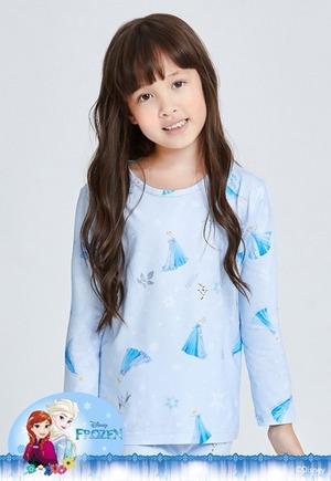 冰霜艾莎溫灸刷毛圓領發熱衣(天空藍 童100-150)