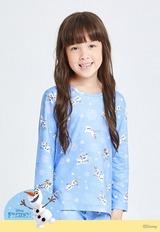 冰花雪寶溫灸刷毛圓領發熱衣(酷灰藍 童100-150)